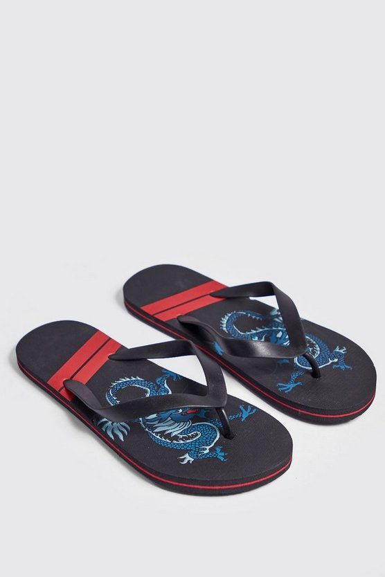 Mens Black Dragon Print Flip Flops