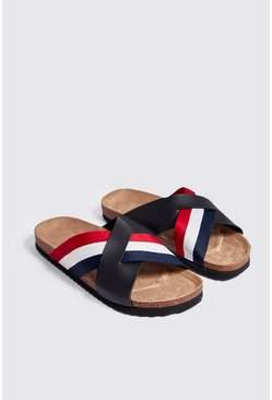 Mens Black Sport Tape Cross Over Sandal
