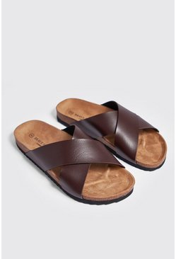 Mens Brown Double Strap Footbed Sandal