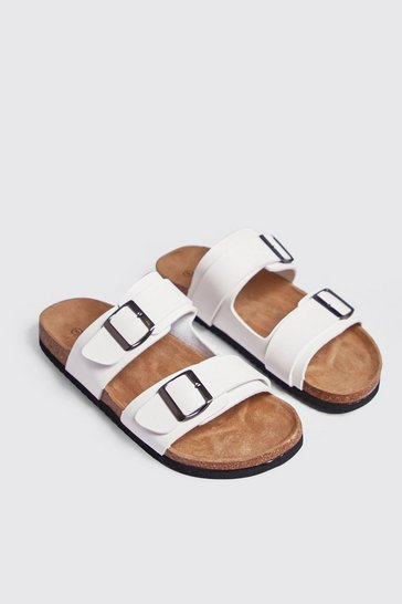 Mens White Double Buckle Sandal