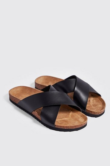 Mens Black Double Strap Footbed Sandal
