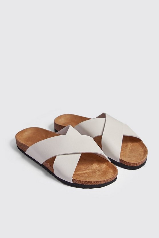 Mens White Double Strap Footbed Sandal