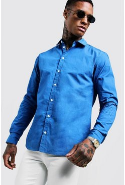 Mens Cobalt Cotton Poplin Shirt In Long Sleeve