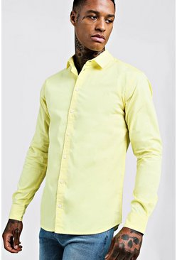 Mens Lemon Cotton Poplin Shirt In Long Sleeve