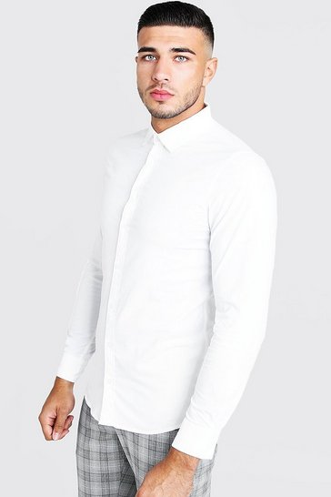 Mens White Cotton Poplin Shirt In Long Sleeve