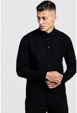 Mens Black Cotton Poplin Shirt In Long Sleeve