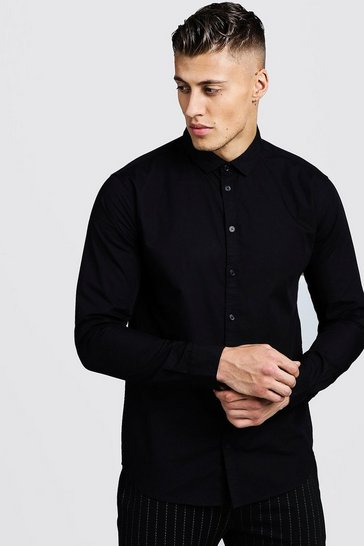 Black Cotton Poplin Shirt In Long Sleeve