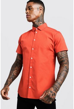 Mens Orange Cotton Poplin Shirt In Short Sleeve