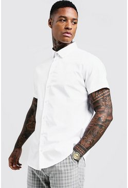 Herr White Cotton Poplin Shirt In Short Sleeve