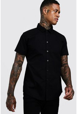 Mens Black Cotton Poplin Shirt In Short Sleeve