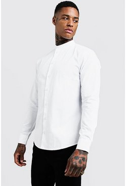 Mens White Cotton Poplin Grandad Shirt In Long Sleeve