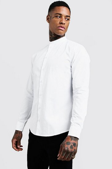 White Cotton Poplin Grandad Shirt In Long Sleeve