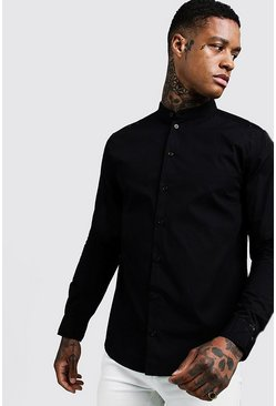 Mens Black Cotton Poplin Grandad Shirt In Long Sleeve