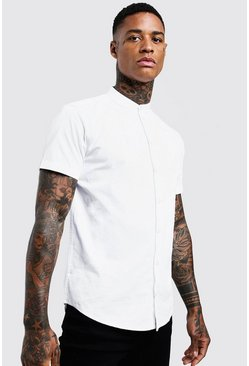 White Cotton Poplin Grandad Shirt In Short Sleeve