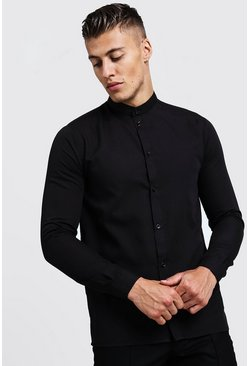 Mens Black Slim Fit Long Sleeve Grandad Shirt