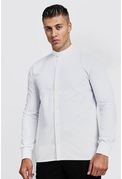 Mens White Slim Fit Long Sleeve Grandad Shirt
