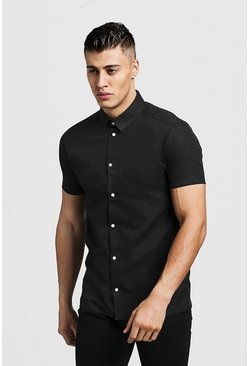 Black Slim Fit Short Sleeve Shirt With Contrast Buttons
