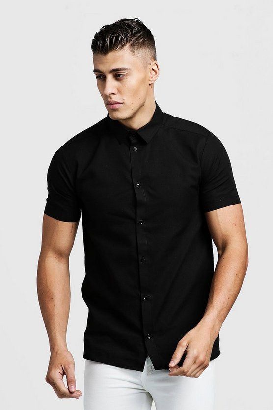 Black Slim Fit Short Sleeve Smart Shirt