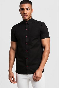 Mens Black Slim Fit Short Sleeve Shirt With Neon Pink Buttons
