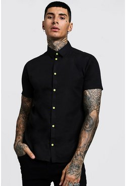 Mens Black Slim Fit Short Sleeve Shirt With Neon Yellow Buttons