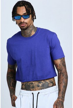Mens Cobalt Loose Fit Cropped T-Shirt