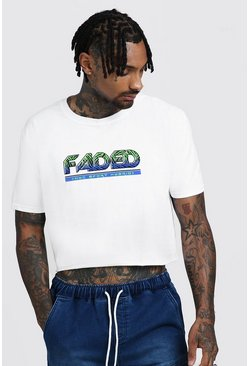Mens White Loose Fit Cropped T-Shirt With Faded Graphic