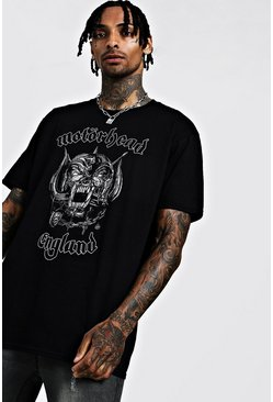 Mens Black Motorhead Oversized License T-Shirt