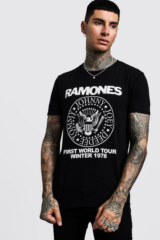 Mens Black Ramones 1978 Tour License T-Shirt