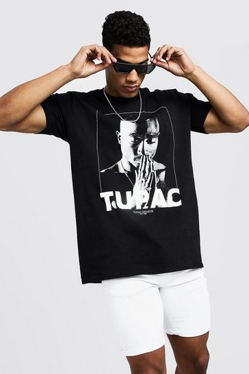 Mens Black Tupac License T-Shirt