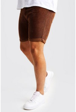 Big And Tall pantaloncini slim fit in velluto a coste, Tabacco