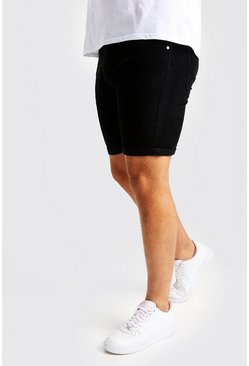 Mens Black Big And Tall Slim Fit Corduroy Shorts