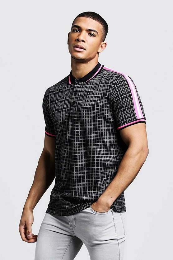 Mens Black Slim Fit Jacquard Polo With Tape Detail