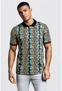Mens Black Polo In Animal Floral Print