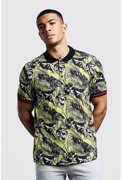 Mens Black Polo T-Shirt in Palm Print