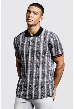 Mens Black Polo T-Shirt In Snake Print