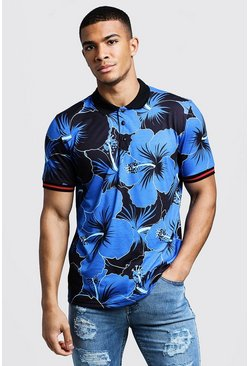 Mens Cobalt Polo T-Shirt In Hawaiian Floral Print