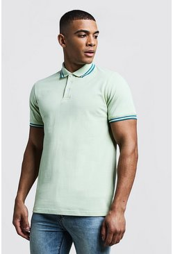 Mens Mint Slim Fit Pique Polo With Taping