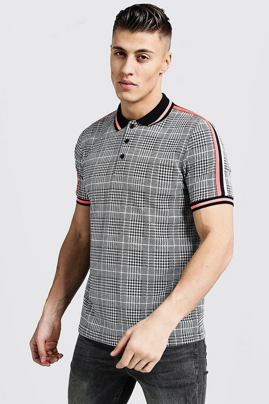 Grey Slim Fit Jacquard Polo With Tape Detail