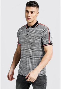 Mens Grey Slim Fit Jacquard Polo With Tape Detail