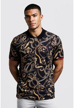 Herr Black Polo With Baroque Print & Sleeve Detail