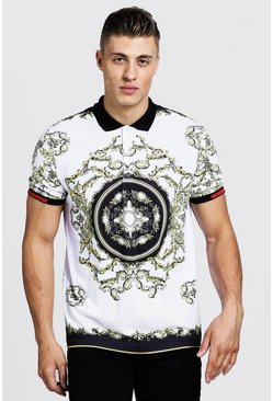 Mens White Polo With Baroque Print