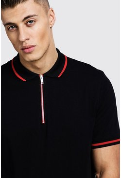 Mens Black Polo T-Shirt With Baroque Back Print