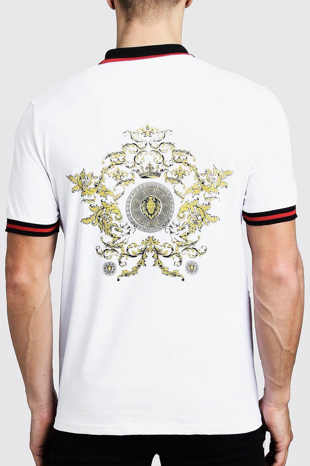 Polo La En Espalda Camiseta Estampado Con Barroco N8m0vwn