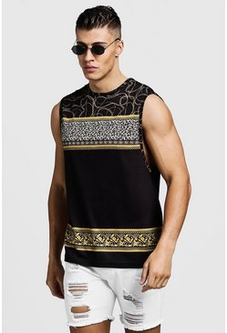 Mens Black Animal Chain Print Loose Fit Drop Armhole Tank