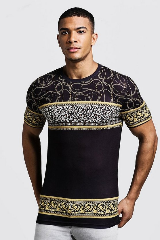 Mens Black Animal Chain Print Muscle Fit T-Shirt