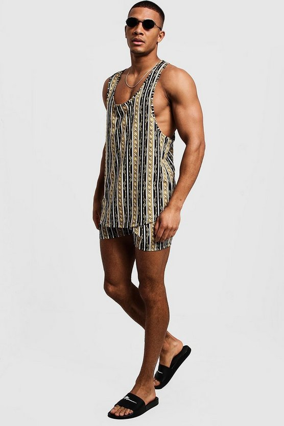 Black Chain Stripe Vest & Swim Short Set