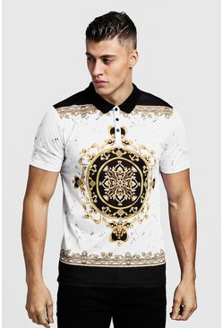 Polo de manga corta con estampado barroco regular, Blanco, Hombre