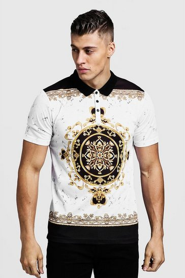 Mens White Baroque Print Short Sleeve Regular Polo