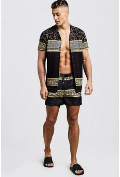 Mens Black Chain Print Revere Shirt & Swim Short Set