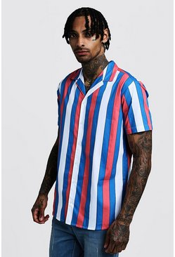 Mens Red Vertical Stripe Short Sleeve Revere Shirt
